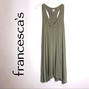 Francesca's Alya Green Racerback Bronze Hole Dress